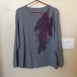 Gray with purple and pink accents. Long sleeve t